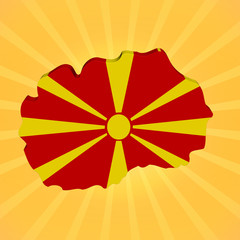 Macedonia map flag on sunburst illustration