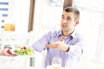 Complaining customer in a restaurant