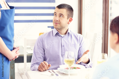 Unhappy customer in a restaurant
