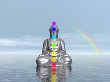 Chakra's bij zonsondergang - 3D render