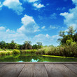 summer landscape, river and blue sky