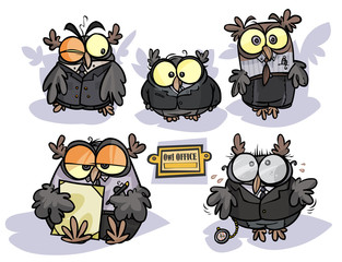 Cartoon group of Owls in Office appearance.