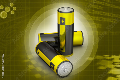 Batteries in color background