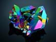 Extreme sharp Titanium rainbow aura quartz crystal cluster - 62909224