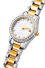 Silver and gold exclusive watch isolated