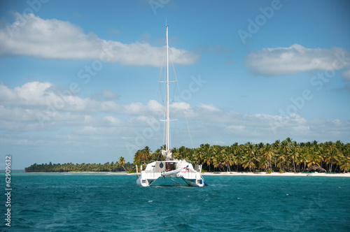 canvas print picture Catamaran Sailing Boat near Saona, Carribean Sea