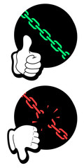 Chain icon like and dislike