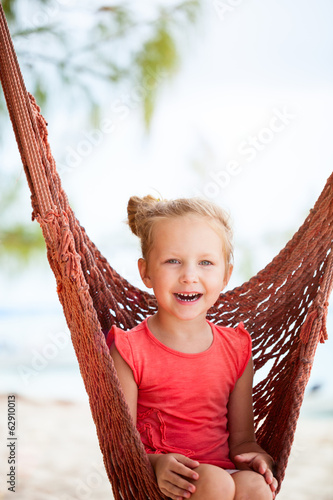 Adorable little girl in hammock