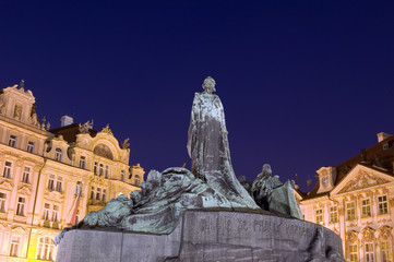 Old Town Square statue at night Prague Czech-Republic