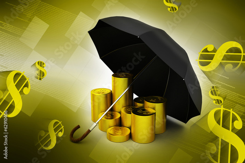 Gold coins under a black umbrella