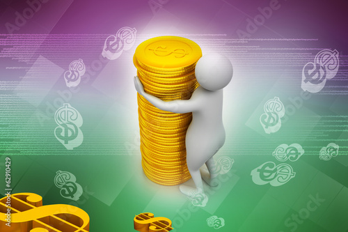 Gold coin with 3d person
