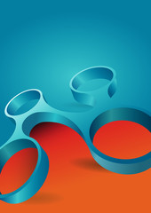 Abstract orange and blue background with modern 3d shape