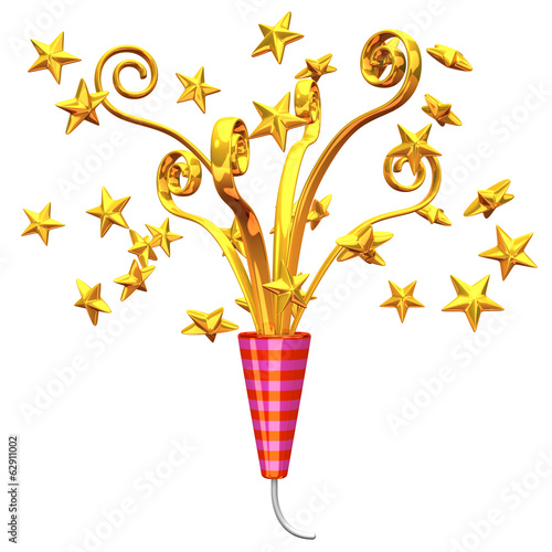 Golden Party Popper And Stars