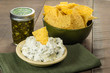 Nacho chips with cream cheese dip