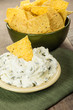 Nacho chips with cream cheese dip