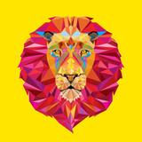 Fototapety Lion head in geometric pattern