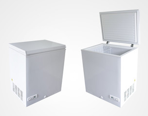 Freezers on plain background