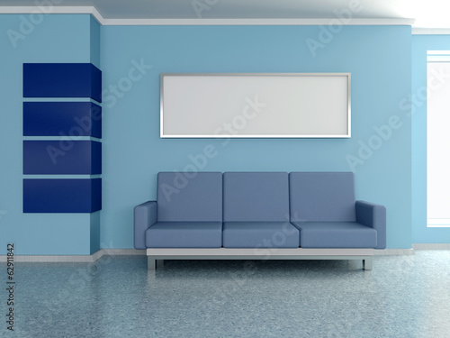Modern home interior with sofa, blue wall and painting. 3D.