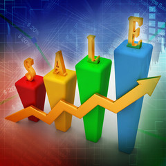 3D Bar chart and sales growth