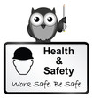 Monochrome comical health and safety sign