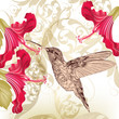 Beautiful  vector background  with humming bird and  flowers