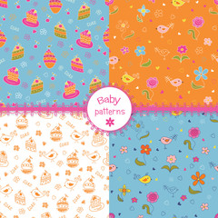 Set of doodle baby patterns