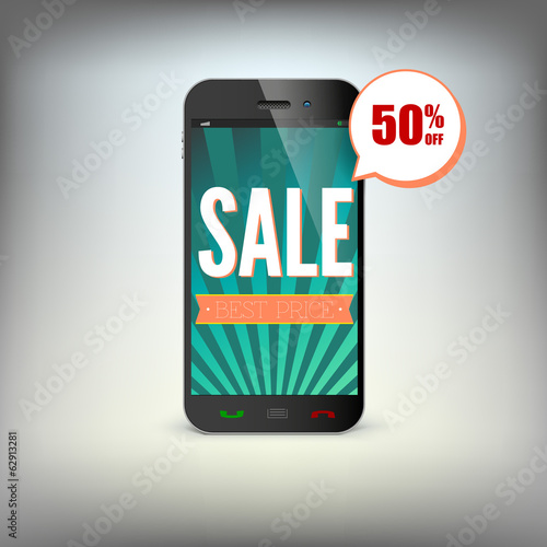 Smartphone with information about discounts on the screen.