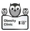 Monochrome comical obesity clinic sign