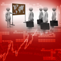 3d people studying the market condition