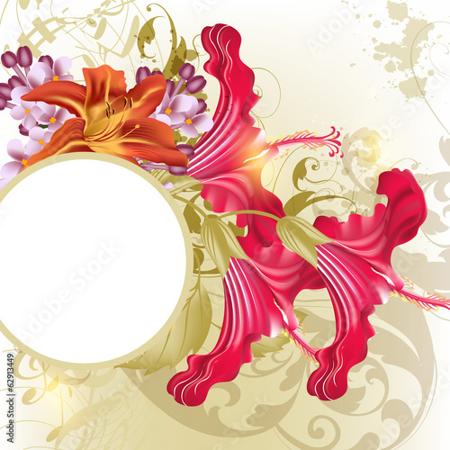 Fashion  background  with hibiscus   flowers