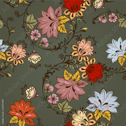 Floral seamless vector  pattern with ornament