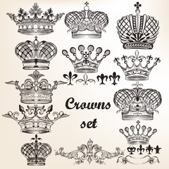 Set of vector hand drawn crowns  for design