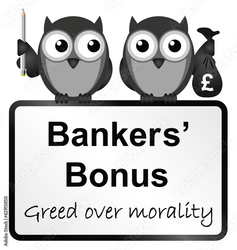Monochrome banker bonuses with UK currency
