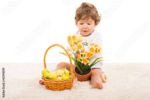 Toddler boy arrange narcissus in pot