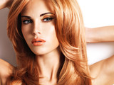 Fototapety Beautiful woman with long straight red hair