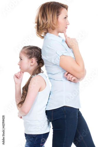 Sad mother and daughter having problem