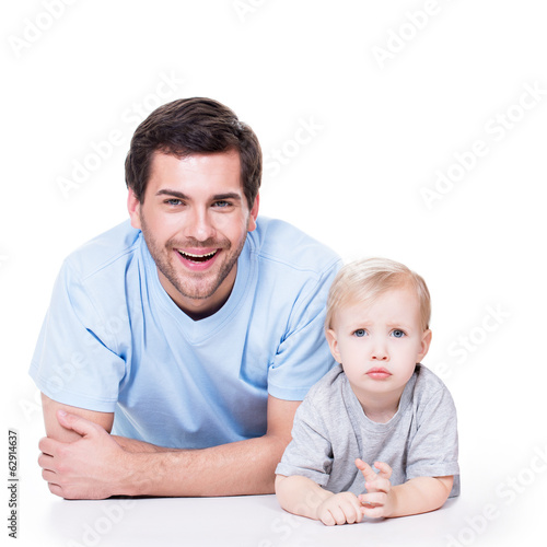 Portrait of cheerful father with baby.