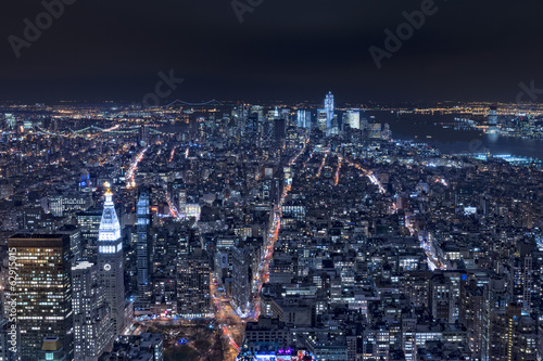 New York night view panorama cityscape