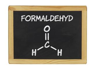 chemische Strukturformel von Formaldehyd auf einer Schiefertafel