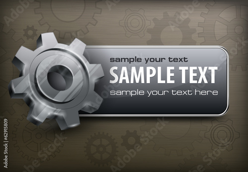 Grey banner with gears, mechanical vector illustration