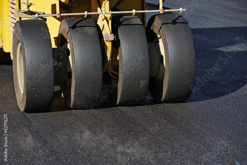 pneumatic asphalt roller at work