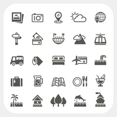 Travel and Vacation icons set
