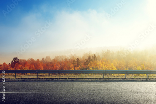 autumn road in sunset time