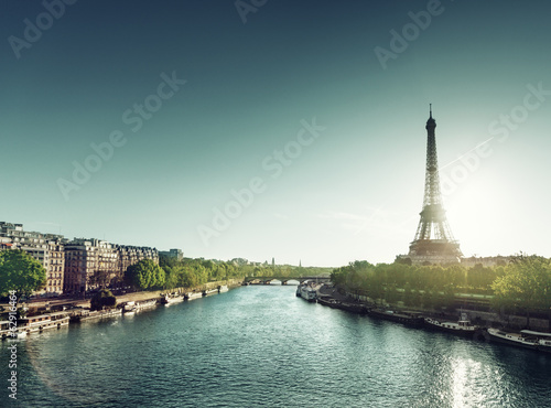 Eiffel tower in sunrise time