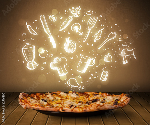 Pizza with white restaurant icons and symbols
