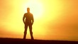 Success Confident Businessman Standing Wind Sunset Silhouette