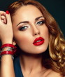 sexy stylish woman model with bright makeup with red lips
