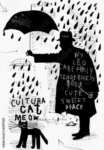 Naklejka Мужчина с зонтиком