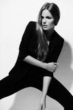 fashion sexy stylish model in black cloth
