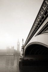 Palace of Westminster in fog